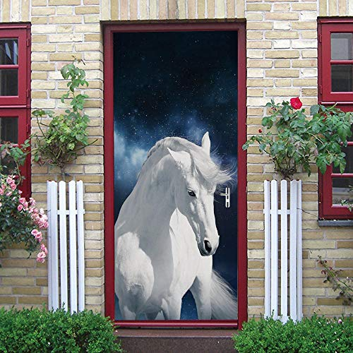 3D Door Mural Nature Art Sticker, Home Creative DIY, Caballo Blanco Animal DIY Adhesivo Decorativo de Puerta Autoadhesivo Bricolaje Pegatinas Pared Decoración de Hogar Arte Moderno 77 x 200 cm