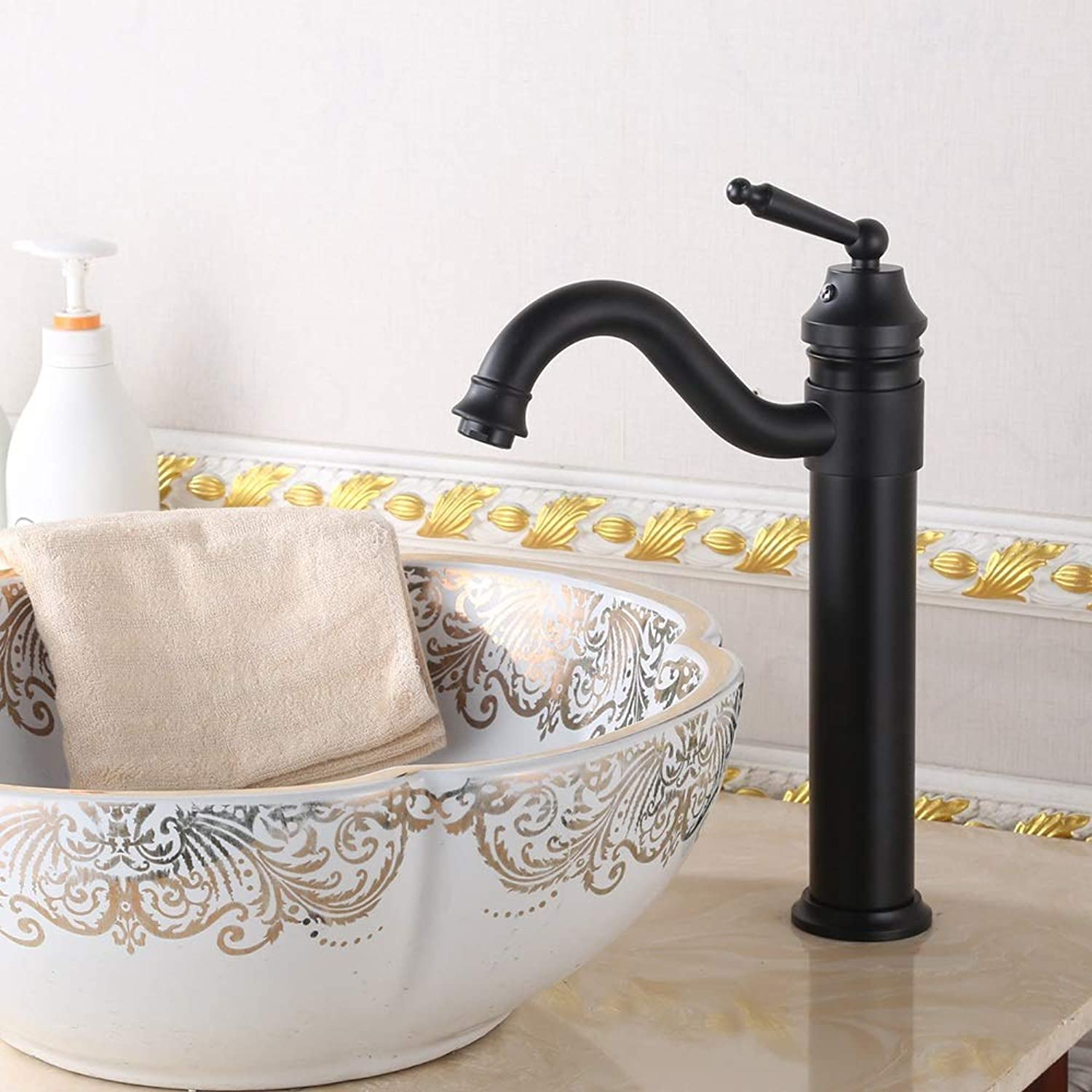 KUVV Clean Copper Black Ancient Faucet Above Counter Basin 360 Degree redation Height Basin Faucet Black Iron High S Curved Black Faucet