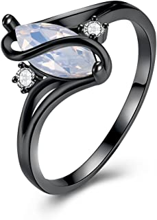 NEVI Olivia Man-Made Opal Invisible Setting Ring for Women & Girls (Black)