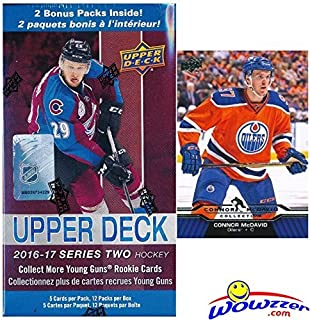 2016/17 Upper Deck Series 2 NHL Hockey EXCLUSIVE HUGE Factory Sealed Blaster Box with 12 Packs PLUS Bonus Connor McDavid Rookie! Box Includes TWO(2) Young Guns Rookie Cards! Wowzzer!