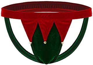 Nimiya Men's Low Rise Elastic Waistband Open Back G-String Thong Jockstrap Christmas Underwear