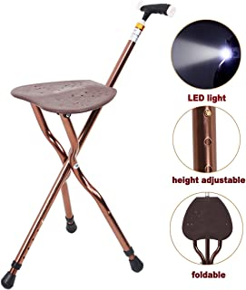 Best Health Cane Stool Golf Walking Seats Retractable Lightweight Walking Stick with LED Light for Elderly Outdoor Travel Rest Stool Folding Chair Replacement Large Weight Capacity (Brown Cane seat)