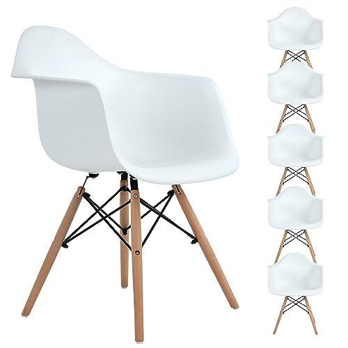EGGREE Lot de 6 Chaise de Salle à Manger, Fauteuil de Chaise latérale Design rétro avec Jambe de Bois de hêtre Massif - Blanc