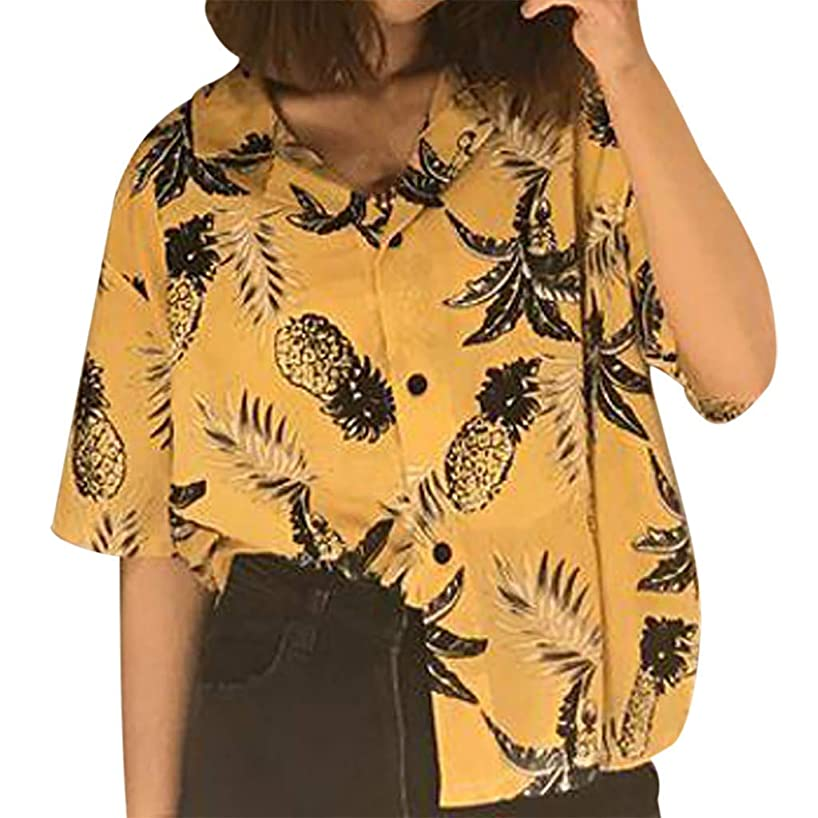 Sunhusing Ladies Summer Holiday Beach Style Leaves Print Short Sleeve Shirt Casual Lapel Button Down Tops