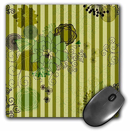 3dRose PS Stripes - Moss Green Stripes and Floral - Mousepad (mp_164526_1)