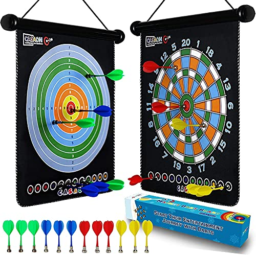 CASAON Magnetic Dart Board Game Set, 12pcs Dart, Indoor Outdoor Game and Party Games, Safe Magnetic Dart, Toy Gift for 6 7 8 9 10 11 12 Year Old Kids