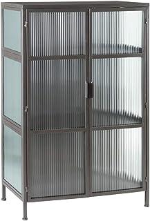 Vitrina de Metal y Cristal Vintage Negra de 2 Puertas, de 80x42x120 cm - LOLAhome