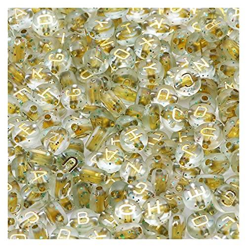 KXLBHJXB Kit De Fabricación De Collar, Letras Mixtas En Blanco Y Negro, Cuentas Espaciadoras Redondas Planas para Collar De Pulsera DIY Hecho A Mano De 7 Mm (Color : B06633, Item Diameter : 500Pcs)
