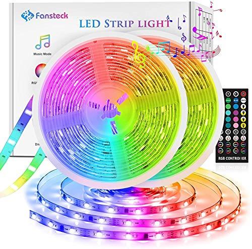 LED Strips 10m(5m*2), Fansteck SMD 5050 LED Streifen mit Timer, Sync mit Musik, Dimmbare Lichterkette mit IR Fernbedienung, LED Lichtband Selbstklebende Lichtleiste 12V für Live Streaming YouTube Show