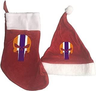 Dallas-Cowboys Christmas Stockings and Santa Hat Gift/Treat Bags Xmas Party Mantel Decorations Ornaments Red