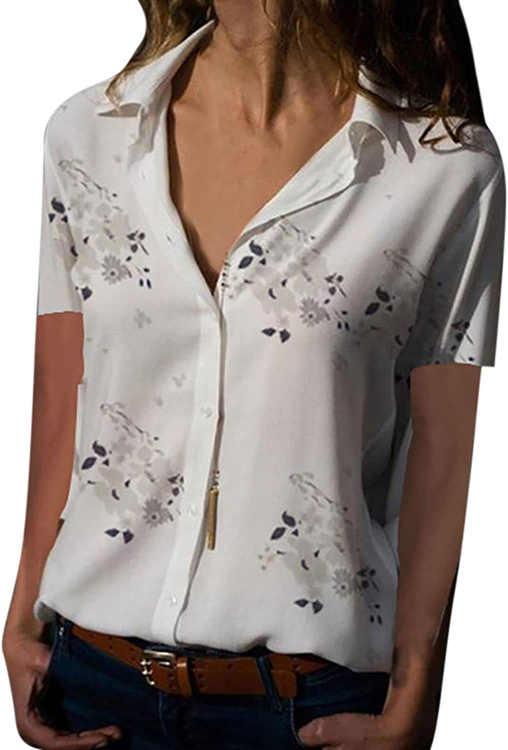 Womens Summer Casual Blouses Collared Button Down Shirt V Neck Floral Printed T Shirts Tops Tunics