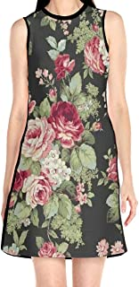 Women's Sleeveless Dress Safflower Green Leaf Fashion Casual Party Slim A-Line Dress Midi Tank Dresses