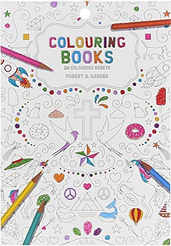 Libro da colorare per adulti, 24pagine, motivi: Foresta & Giardino