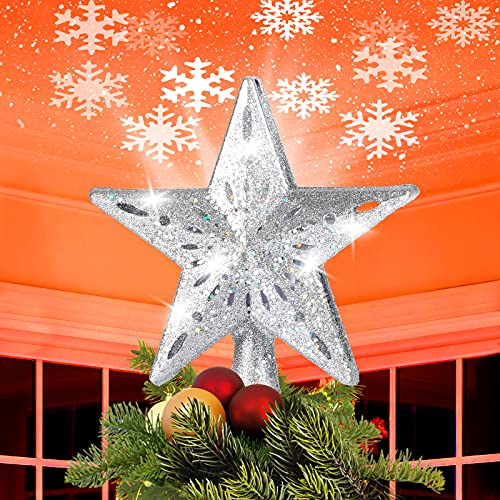 MOSUNECE Christmas Tree Toppers Star Lighted with Led Rotating Snowflake Projector Christmas Tree Topper Star for Xmas Tree Decorations Romantic Home Decoration Ideal Gift for Kids Friends