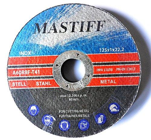 Lot de 100 disques à tronçonner pour acier 125 x 1 mm T41 Mastiff INOX A60RBF EN12413