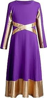 Girls Metallic Gold Cross Bandage Praise Dance Dress Kids Liturgical Lyrical Worship Long Dress Dancewear Skirt Costume