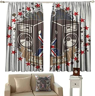 Popstar Party Shading Insulated Curtain King Rock Label with Speakers Stars and Electric Guitar with British Flag Soundproof Shade W42 x L36 Inch Multicolor