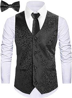 WANNEW Mens Vest Suit Vests Tuxedo Vest Formal Vests Paisley Vest for Men
