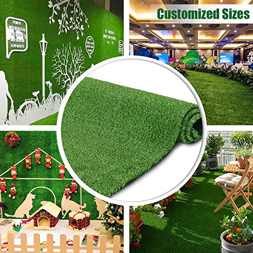 Artificial Grass Turf Lawn 7FTX12FT,Economy Indoor Outdoor Synthetic Grass Mat, Backyard Patio Garden Balcony Rug, Rubber Backing / Drainage Holes