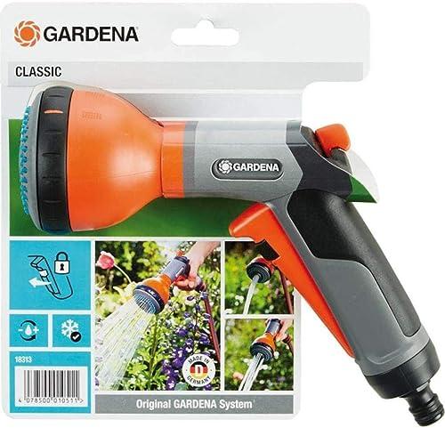GARDENA Classic 18313-20 - Ducha multiusos para regar plantas de maceta y bancales, 3 chorros de agua, protección ant...