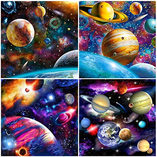 UPINS 4 Pack DIY 5D Diamond Art Painting Kits for Adults Full Space Drill Universe Galaxy, Handmade Arts Craft Home Decor Office Wall Gift, Relaxing, Decompression, Entertainment
