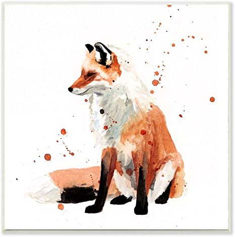 Amazon Com Stupell Industries Sitting Fox Watercolor Animal Orange Painting Design By Victoria Borges Art 12 X 12 Wall Plaque Home Kitchen