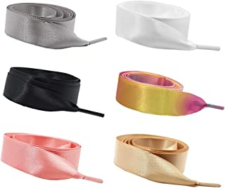 Daimay 6 Pair Silk Ribbon Shoelaces Fashion Sneakers Shoe Laces Flat Shoestring Lace Satin Ribbon for DIY Shoes Decoration 1.2M – Black/White/Turmeric/Coral Pink/Silver Gray/Rainbow Pink