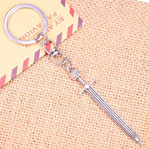 SUNSK Llavero de Moda 66 * 15 Mm Espada Gato Colgantes DIY Hombres joyería Coche Llavero Anillo Titular Recuerdo para Regalo