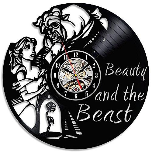 Reloj disco de vinilo negro La bella y la bestia, bonito regalo