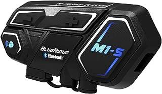 BIBENE Motorcycle Bluetooth 4.1 Intercom BlueRider M1-S Helmet Communication System,  Wireless Universal Helmet Clamp Kit with Mesh Intercom Headset,  Up to 4 Riders 2000m for Group Motorbike (Black1)