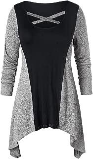AOJIAN Blouse Women Long Sleeve T Shirt Cross O-Neck Irregular Splice Tunic Tees Tank Shirts Tops