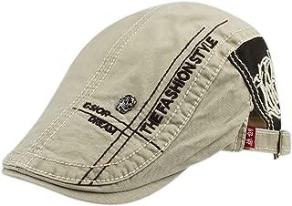 2019 Womens Hats Caps Men Cotton Adjustable Flat Cap Quilted Badge Duckbill Newsboy Gatsby Irish Hat (Color : Beige, Size : M)