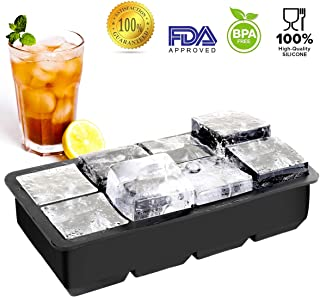 KKCITE Large Ice Cube Tray - 8 Cavity Silicone Ice Cube Tray for Whiskeys and Cocktails Reusable and BPA Free (2pc/Pack)