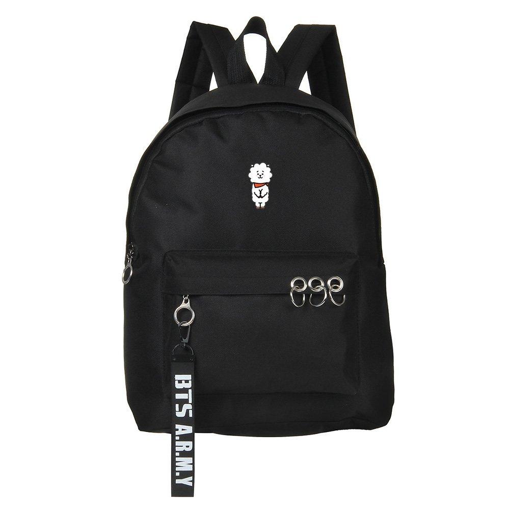 Skisneostype Kpop BTS Bangtan Boys Backpack Unisex Casual Schoolbag Laptop Bag College Bag Travel Rucksack Nice Gift for BTS Fans(Black26-RJ)