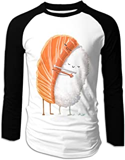 Eyscar Mens Logo of Sushi Hug Cotton Baseball Raglan Long Shirts