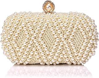 Womens Clutch Bag,Elegant &Luxury Wedding Party Beaded Handbags Imitation Pearls Metal Frame Kissing Lock Satin Interior Evening Bag Clutches Wallet,Yellow,6.5 * 10 * 20cm