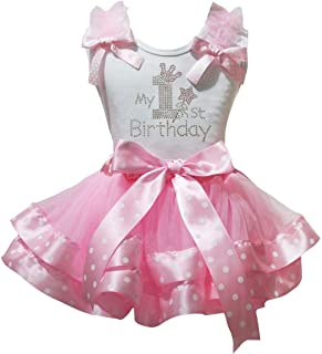 Petitebella My 1st Birthday Shirt Ribbon Petal Skirt Outfit Nb-2y (White/Pink Dots, 1-2 Years)