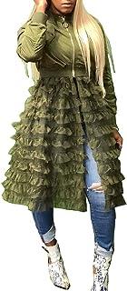 فستان معطف حريمي من LROSEY مقاس كبير بكشكشة مرقعة