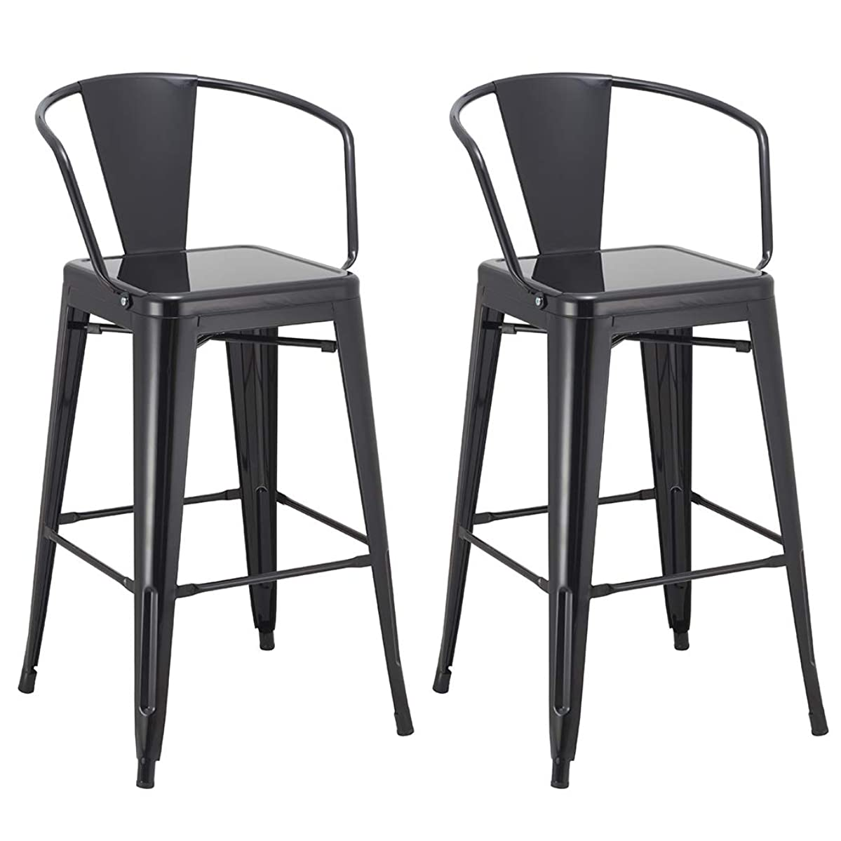 Duhome 2 pcs 30' Metal Bar Stools Bar Chair with Backrest Industrial Style Kitchen Counter Top High Barstool Pub Bistro (Black)