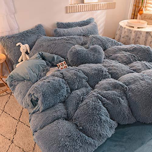 Tisi 5-pieces Hug and Snug Duvet Set Polyester Super Soft Warm and Cozy Fluffy Fur Fleece Double Bed Size, Hug & Snug Mink 200 * 230 (Grey)