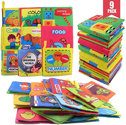 POKONBOY 9 Pack Soft Baby Cloth Books First Year, Non-Toxic Fabric Infant Quiet Books of Babies Newborns Early Education Baby Toys