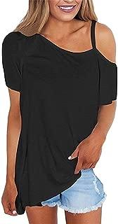 Women's Cold Shoulder Tops Short Sleeve Shirts Asymmetrical Hem Loose Blouse