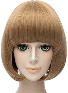 Nunubee Short Bob Hair Touken Ranbu Online Wigs for Girl Lovely Synthetic Cosplay Party Wigs Golden Brown