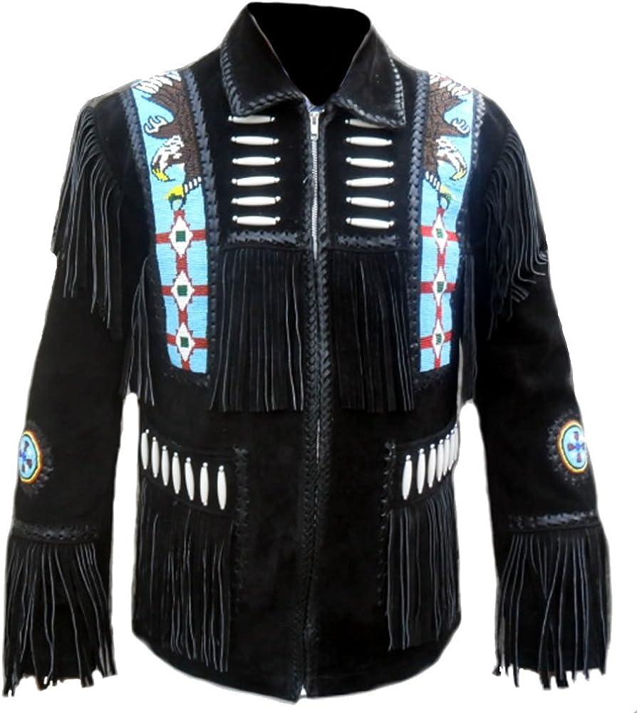 SRHides Men's Indian Cowboy Suede Leather Jacket Fringed & Beaded