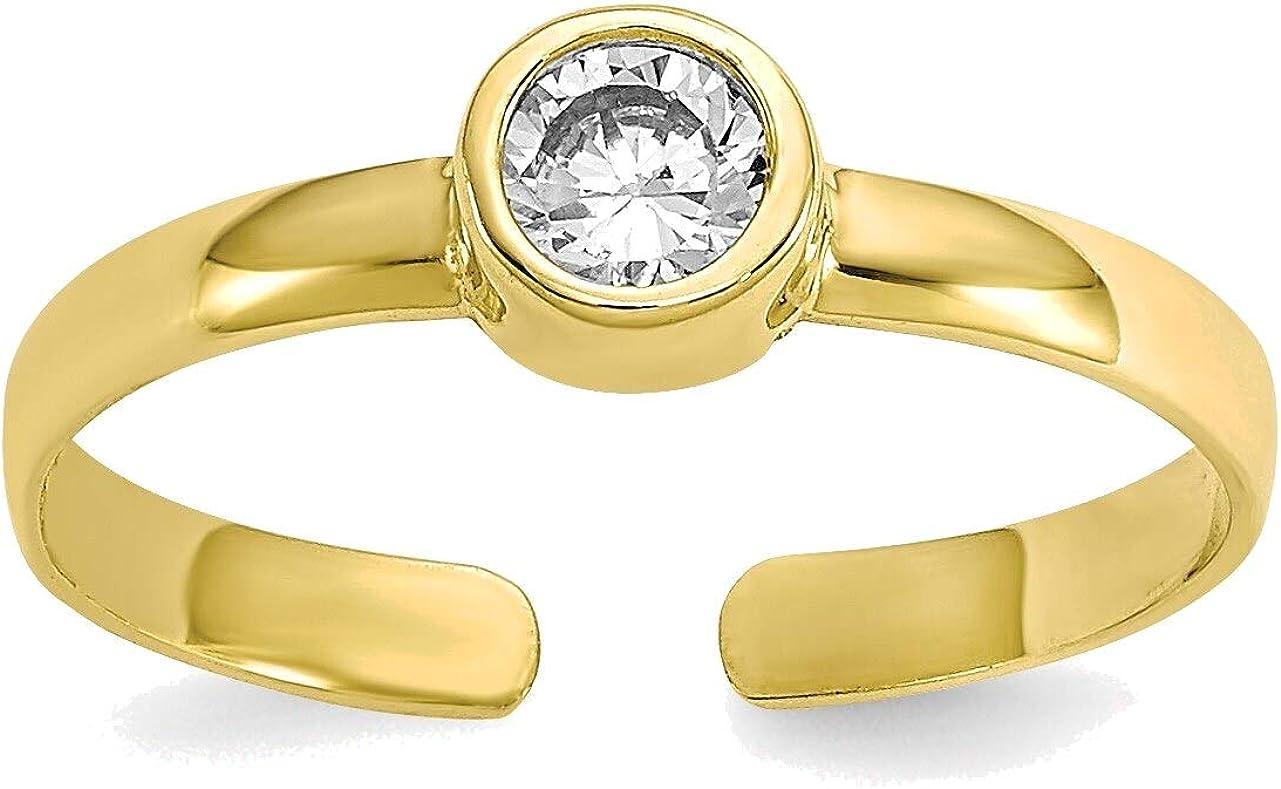 Bonyak Jewelry CZ Toe Ring in 10K Yellow Gold in Size 11