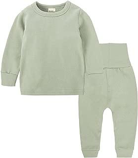 Toddler Baby Girl Boy Pajama Set High Waist Solid Color Sleepwears Pjs