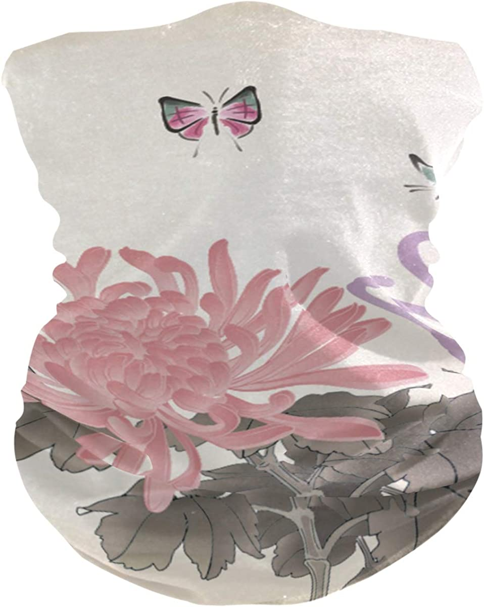 Rave Mask Flowerand Butterfly Bandanas Face Mask Neck Gaiter for Wind Sun Dust Protection Outdoors Festivals Sports
