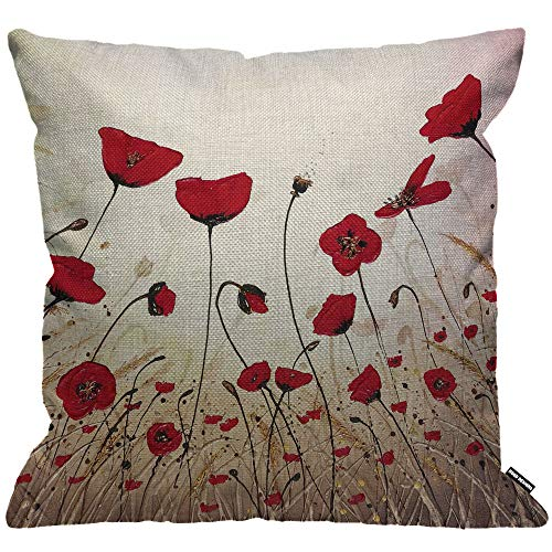 HGOD Designs - Federa per cuscino decorativa, motivo: papavero rosso, 45 x 45 cm