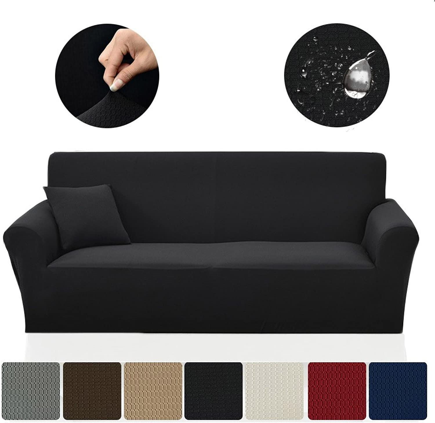 SAXTX Stretch Couch Slipcover, Waterproof Non-Slip Sofa Covers, Stains Resistant Prevent Scratches Furniture Cover Pets, Cats, Kids (XL Sofa, Black)