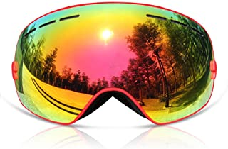 GANZTON Skiing Goggles Snowboard goggles Double Lens Anti-UV Anti-Fog Skating Goggles For Women And Men, Boys And Girls